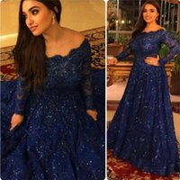 art fashion draping - Sparkly Vintage Evening Dresses Cheap Long Sleeves Beads Crystals Ruffled Sweep Train Plus Size Arabic Navy Blue Lace Formal Prom Gowns