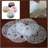 Wholesale Four injection mould Baked pastries decoration Cake Decorating Stencil Mould Icing Fondant Spray Print Sugar Round Reusable PVC