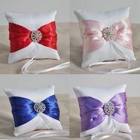 Wholesale Elegant western wedding handmade silk satin bow with rihinestone center ring pillow silk ring pillow rhinestone wedding ring pillow