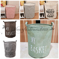 Wholesale Fedex DHL Free Large Storage Laundry Hamper Clothes Basket Storage Useful ZAKKA canvas Cotton Linen Children Toy Bucket Bin Z202