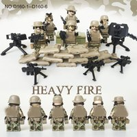 action figures army - 6pcs Heavy Fire Modern War Minifigures Action Figure Model With Weapons Military Army Building Blocks Bricks Toys Doll D160