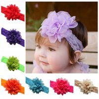 big hair flowers - 2016 baby big Chiffon flower Baby elastic Lace headband hair ribbon elastic newborn infant headbands children girls hair accessories