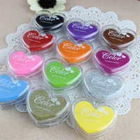 Wholesale 24pcs Multicolor Heart Ink Pad Draw DIY Paper Wood Fabric Rubber Stamp Scrapbook Albums Card Craft Inkpad