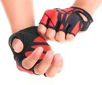 baseball strength - Red men mitten Club fitness glove Gym strength training non slip lycra palm anti skid support