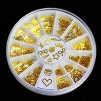 Wholesale 12 Models Gold Metal Stickers Nail Art Tips Crystal Glitter Rhinestone Fashion Nail Tools DIY Decoration Stamping