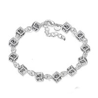 asian style decor - 5pcs Silver Plated Charms Rhinestones Square Bracelet Bangle Korean Style for Girl Women Ladies Party Decor