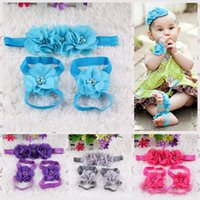 Wholesale Infant Flower Pearl Headband Girl Lace Headwear Kids Baby Photography Props Bow Hair Accessories Baby Hair bands and Foot Flower Set Suit