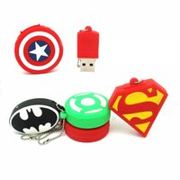 america lanyard - USB Flash Drive Superman Batman Captain America Shield GB GB GB GB GB Pen Drive Memory USB Stick Pendrive Green Lantern