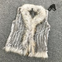 Wholesale VR033 Women Genuine Natural Real rabbit fur Knitted Vests Waistcoat gilet coats with tassels Raccoon Fur collar