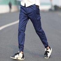 Wholesale army Pants Casual Skinny Zipper botton Sweatpants Solid Hip Hop Sport Trousers Jogging Pants Men Joggers Slimming pants