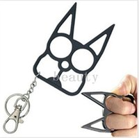 Wholesale 20pcs Oversized Novelty Self Defense Brave Cat Keychain New Designer Car Key Pendants Metal Chains Promotion Key Rings for Bag NAR041