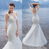 beads catalog - 2016 Mermaid Catalog Beach Wedding Dresses Spaghetti Neck Sleeveless Full Lace Wedding Gowns Sweep Train Lace Up Plus Size Long Bridal Dress