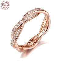 Wholesale Solid Sterling Silver Rings Braided Design K Rose Gold Plated with Clear CZ Diamond For Woman Pandora Ring Style Jewelry Gift P187