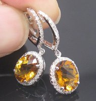 Wholesale Solid K WHITE GOLD NATURAL YELLOW CITRINE DIAMOND WEDDING DROP EARRING