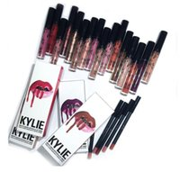 Wholesale 1set Kylie Lip Gloss Lipstick Real Kylie Jenner Cosmetics Lip Kit Lipliner Lipgloss In Stock Liquid Lipstick Matte Colors DHL Free s