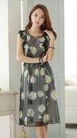 ball chrysanthemum - Summer New Small chrysanthemum Flounced sleeveless dress False two pieces temperament High Waist Chiffon skirt Women Casual Dress Size S XL