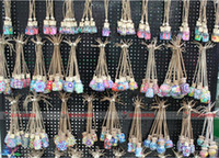 Wholesale 50PCS ml Car hang decoration Ceramic essence oil Perfume bottle Hang rope empty bottle random colors styles D906