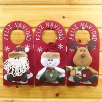 Wholesale Hot Christmas Door Wall Hanging Ornaments Xmas Tree Decor Santa Claus Deer Snowman Style