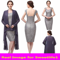 autumn pictures color - Cheap Lace Gray Chiffon Jacket Mother Of Bride Dresses Pictures Spring Chiffon with Long Sleeve Custom Made Knee Length Evening Gowns SD340
