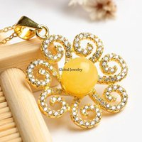 amber sunflower - Amber Pendant S925 silver inlay natural beeswax simple flower sunflower female models a factory