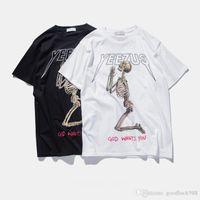 Wholesale Kanye West Street Tour t shirt Merch Indian Headdress Skull red letter short sleeve t shirt tee HBA hip top T shirts TOPS