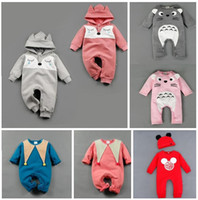 Wholesale 2016 Winter Infant Christmas Cap Long Sleeve Thickness Warmer Casual Newborn Clothes Cartoon Mickey girl jumpsuits clothes fox rompers E548