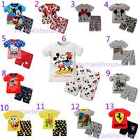 Cheap 13 Design Boy girl Mickey Minne Batman Hello kitty Pajamas children cartoon INS Short sleeve + shorts 2pcs Suits baby clothes B001