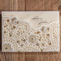 Wholesale unique wed invitation card custom or blank elegant wed card invitation free ship