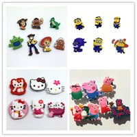 Wholesale 6 Toy Story Minions Kitty Pink Pig Cartoon Shoe Charms Shoe Accessories Shoe Decoration fit croc and Wrisband Gifts