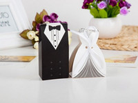 Wholesale Elegant And Romantic Wedding Favors Gift Box Candy Box Free Shiipping Bride And Groom Chocolate Packing Box Pairs With Ribbon