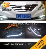 Wholesale Waterproof style LED car DRL Daytime running lights With Turning Signal Light case for Hyundai SONATA th