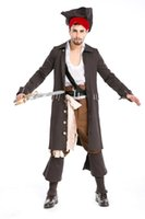 Wholesale Caribbean Performance Costumes - New Fashion Men's Cosplay Halloween Costume Pirates Of The Caribbean Captain Jack Sparrow Costume Masquerade Party Performance Clothing