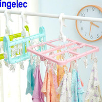 baby clothesline - Home Folding Clips Clothes Hanger Drying Rack Socks Bra Towel Baby Cloth Hangers Hook Organizer Clothesline Clothes Storage