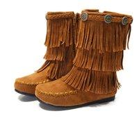 Wholesale Autumn winter new girls boots children tiered tassel boots girls matin boots winter kids shoes children Xmas boots girls princess boots