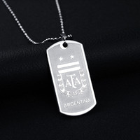 argentina jewelry - Never Fade Stainless Steel jewelry Argentina football Team logo pendant titanium steel plated necklace For club fans Souvenir