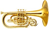 Wholesale Marching Mellophone in F Lacquer Finish With Wood case Brass Musical instruments