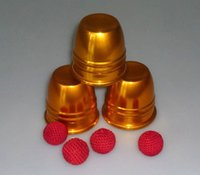 Wholesale Super delux metal three cups with three balls Gold color most famous magic in the world good magic trick magic game