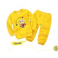 Wholesale Newest Children s Clothing Set Autumn Winter Minion Boys Girls Clothes Hoodies Casual Long Pants Cotton Clothing Sets