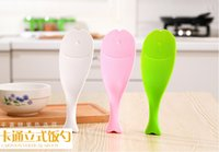 Wholesale Fast Delivery Cute Plastic Handle Fish Spoon Vertical Non stick Rice Spoon Creative Rice Shovel in one