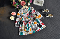abstract bottle - Autumn winter Girls dresses long sleeve T Fashion abstract birds print branded dresses European kids clothing children dress