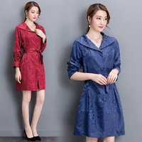 belted trench dress - Fall new lady trench coat Cultivate one s morality show thin Elegant dress lace up coat big yards