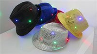 Wholesale Christmas LED jazz hats cap flashing lights hat santa led hats cap christmas gift hat Men Women hats kids hats colors