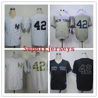 Cheap Cheap Yankees Baseball Jerseys Men #42 Mariano Rivera Grey White strip Black stitched Athletic jersey Mix Order High Quality Free Shipping