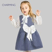 best designer clothing - childrens clothing OF GIRL Navy blue plaid fabric high quality printed round neck style designer dresses best chinese suppliers