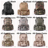 Backpacks Unisex Fashion 8 Designs 3P Hiking Camping Bag Military Tactical Trekking Rucksack Backpack Camouflage Molle Rucksacks Attack Backpacks LJJC4920 10pcs