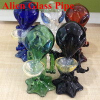 alien paintings - 2016 new Alien Glass Pipes Hand painting bong G Spot Glass bubblers Five Color bong oil rigs glass bongs