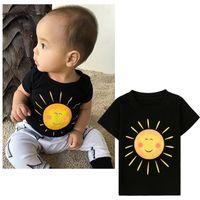 Wholesale INS hot Children short sleeve sun print T shirt Kids black cotton Tshirt