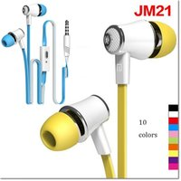 Bajo plano Baratos-Langston JM21 Super Bass In-Ear Earphone 3.5mm Jack Stereo Headphone 1.2m Flat Cable con micrófono para iPhone 6 6 Plus 5 5S