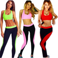 Wholesale Tobeyoung New Womens Fitness Running Training Gym Sports Yoga Sets Suit Crop Top Bra Bralette Stretch Bodycon Leggings Pants Set