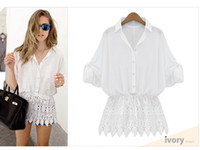 Cheap women tops ladies off shoulder tops Spring Ladies Floral Full Sleeve Chiffon Blouse Lace Top Shirt Blouse Women Clothing Plus size